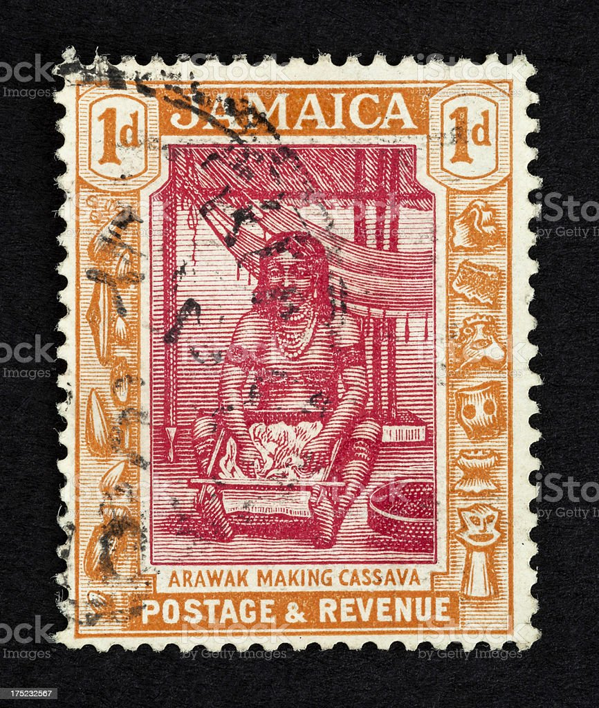 Old postage stamp from Jamaica stock photo