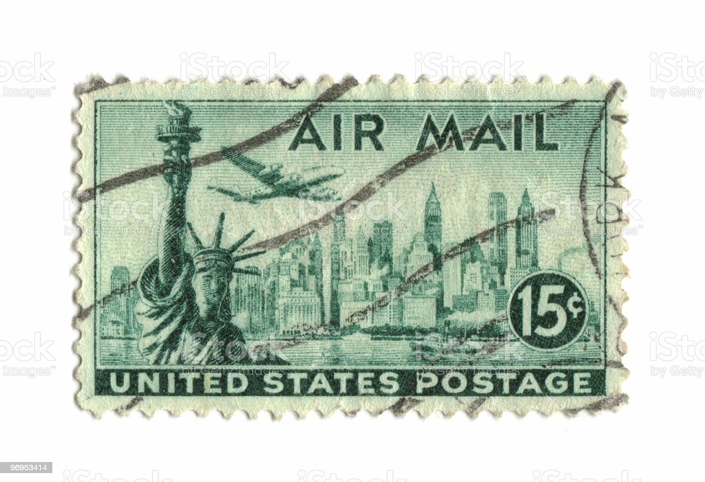 Old postage stamp from USA 15 cents royalty-free stock photo