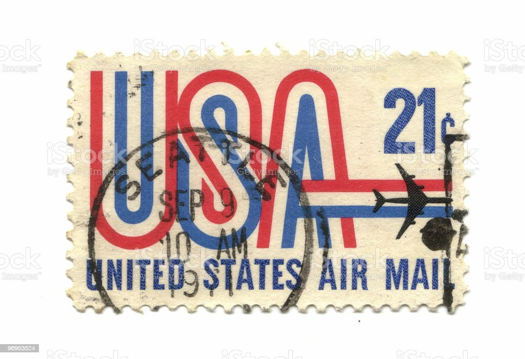 old postage stamp from USA 21 cent royalty-free stock photo