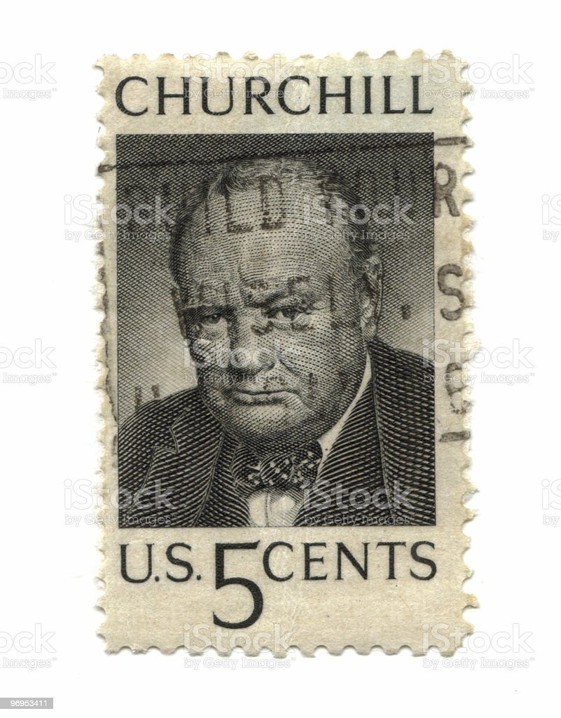 Old postage stamp from USA five cent royalty-free stock photo