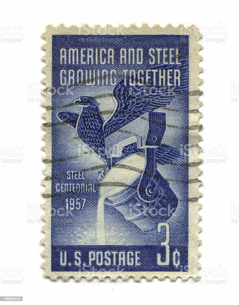Old postage stamp from USA three cents royalty-free stock photo