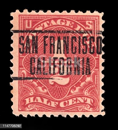 United States of America  USA - CIRCA 1925: Old postage stamp Half Cent cancelled in  San Francisco California , circa 1925.