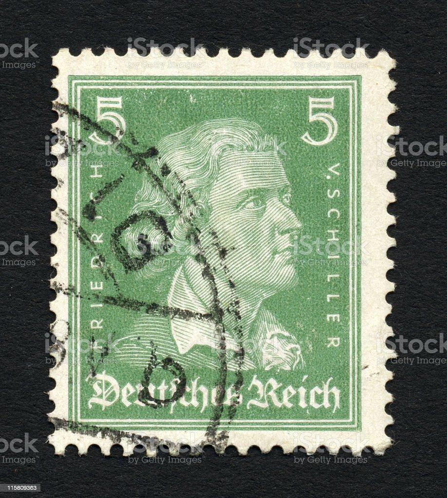 Old postage stamp with Friedrich Schiller stock photo