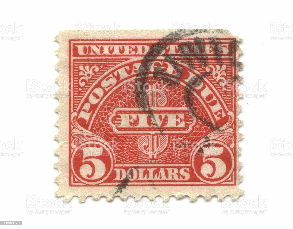 Old postage stamps from USA 5 Dollars royalty-free stock photo