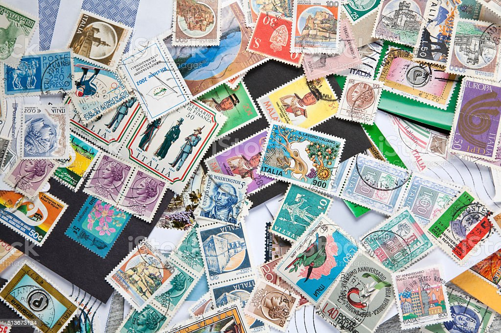 Old postage stamps stock photo