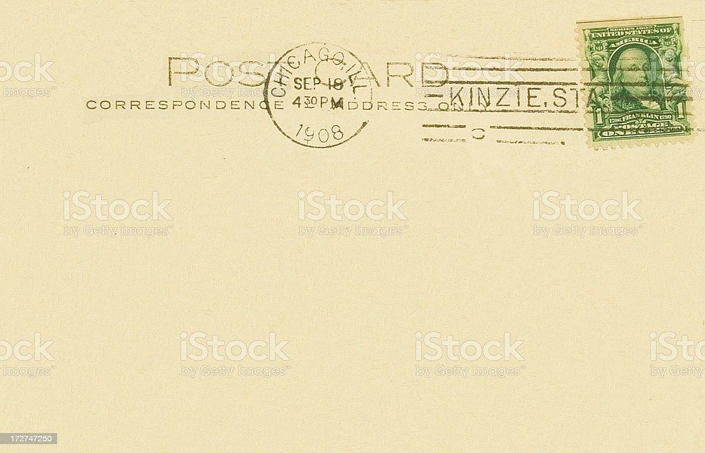 Old Postcard Back Chicago1908 Kinzie Station Postmark royalty-free stock photo