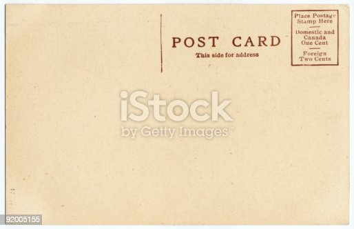 istock Old Postcard Backside 92005155