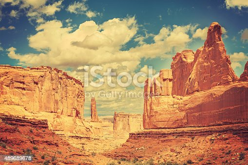 Old postcard from Wild West, retro toned photo of Arches National Park, Utah, USA.