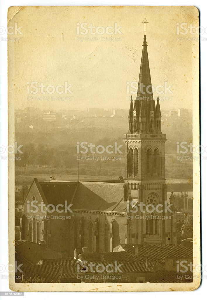 Old Postcard of French Cathedral stock photo