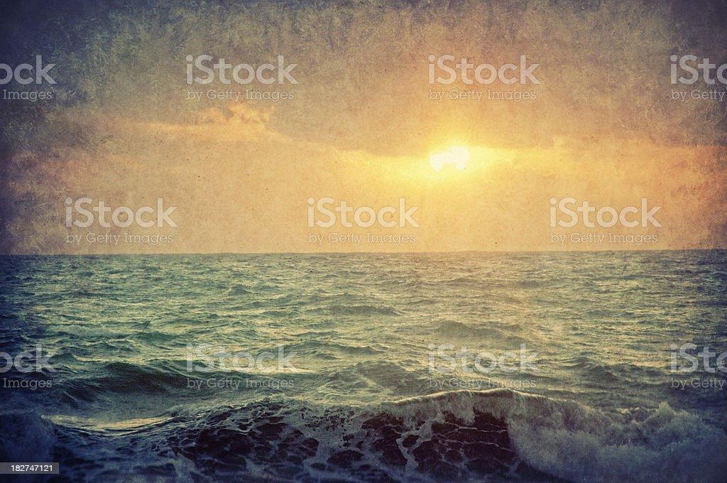 Old postcard, sunset on Mediterranean Sea royalty-free stock photo