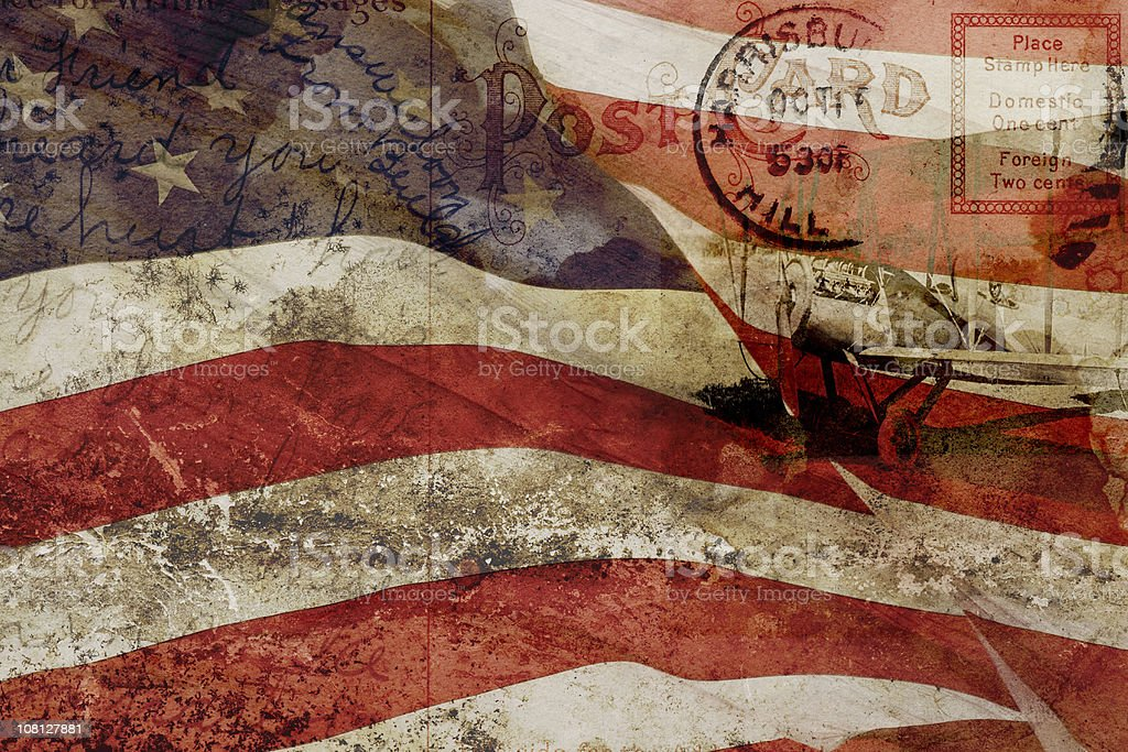 Old Postcard, United States Flag and Vintage Plane Collage Compilation stock photo