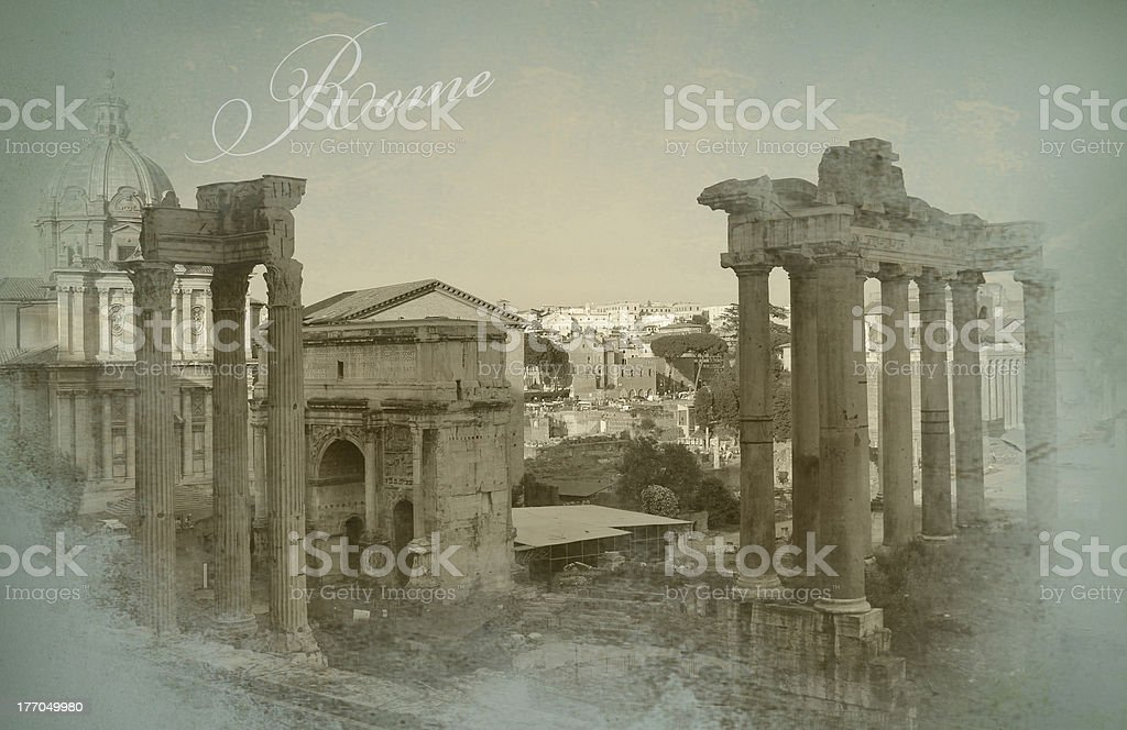 Old postcard with Rome view royalty-free stock photo