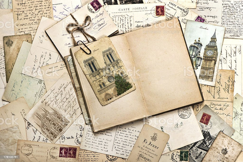 old postcards. vintage travel background stock photo