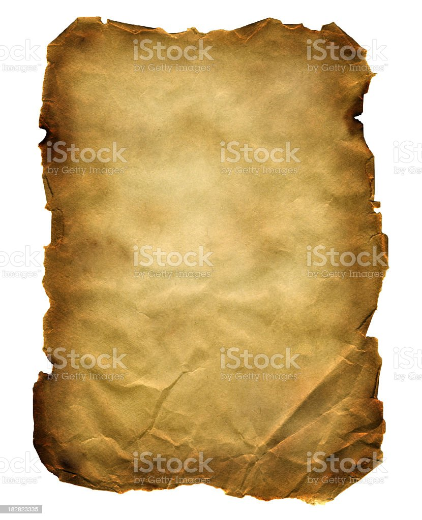 Old poster of crumbled brown paper with burned ragged edges stock photo