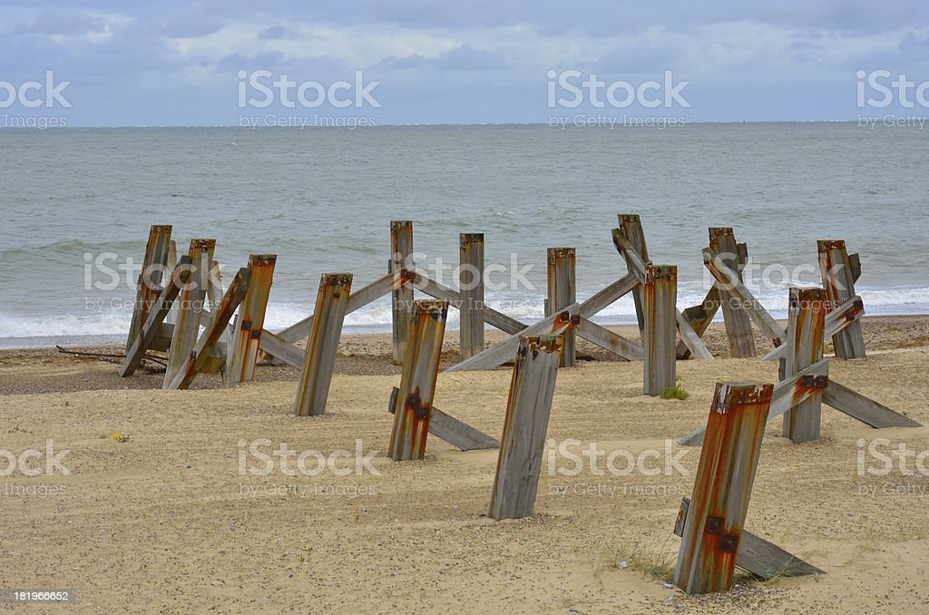 Old posts going out to sea royalty-free stock photo