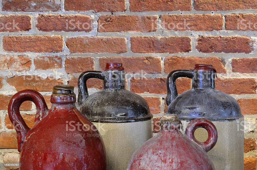 Old Pottery Jugs stock photo