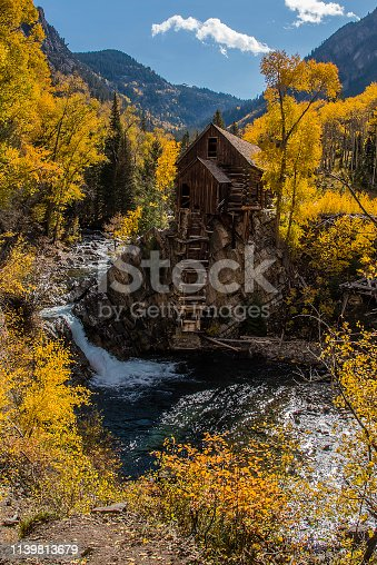 Aspen area rough narrow mountain road to old mill.