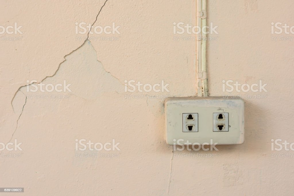 Old power plug socket outlet on old  concrete wall stock photo