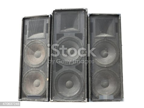 istock Old powerful stage concerto audio speakers isolated on white 470637245