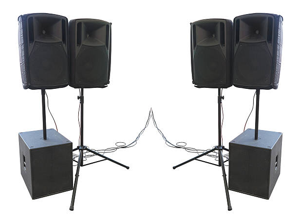 Old powerful stage concerto audio speakers isolated on white stock photo