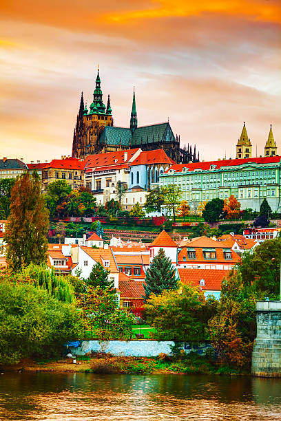 Old Prague cityscape overview stock photo