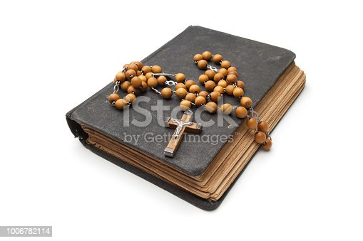 bible, book, crucifix, christianity, catholicism, ancient, antique, holy book, dirty, religion, praying, rosary beats, spirituality