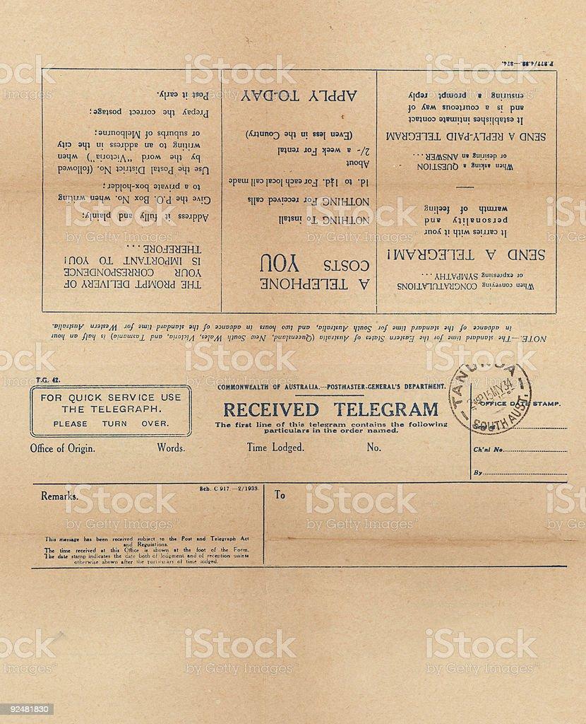 Old vor dem 2. Weltkrieg leere Telegramm Lizenzfreies stock-foto