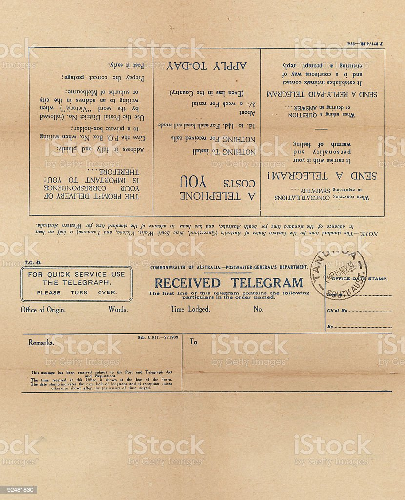 Old pre world war 2 blank telegram stock photo