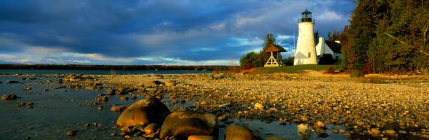 Old Presque Isle Lighthouse, MI stock photo
