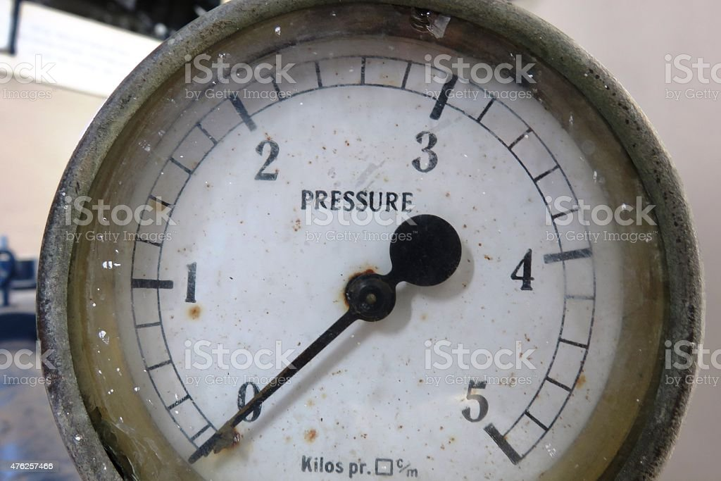 Old pressure gauge stock photo