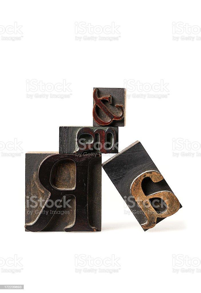 Old print lettercase royalty-free stock photo
