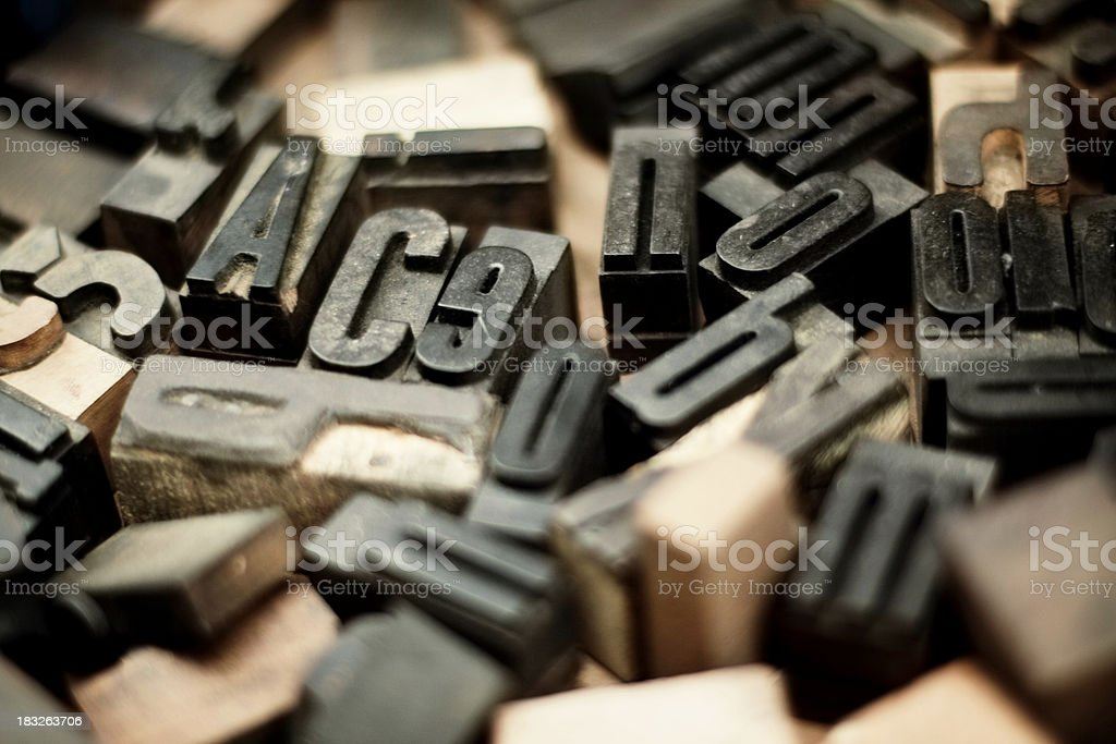 Old printing letters stock photo