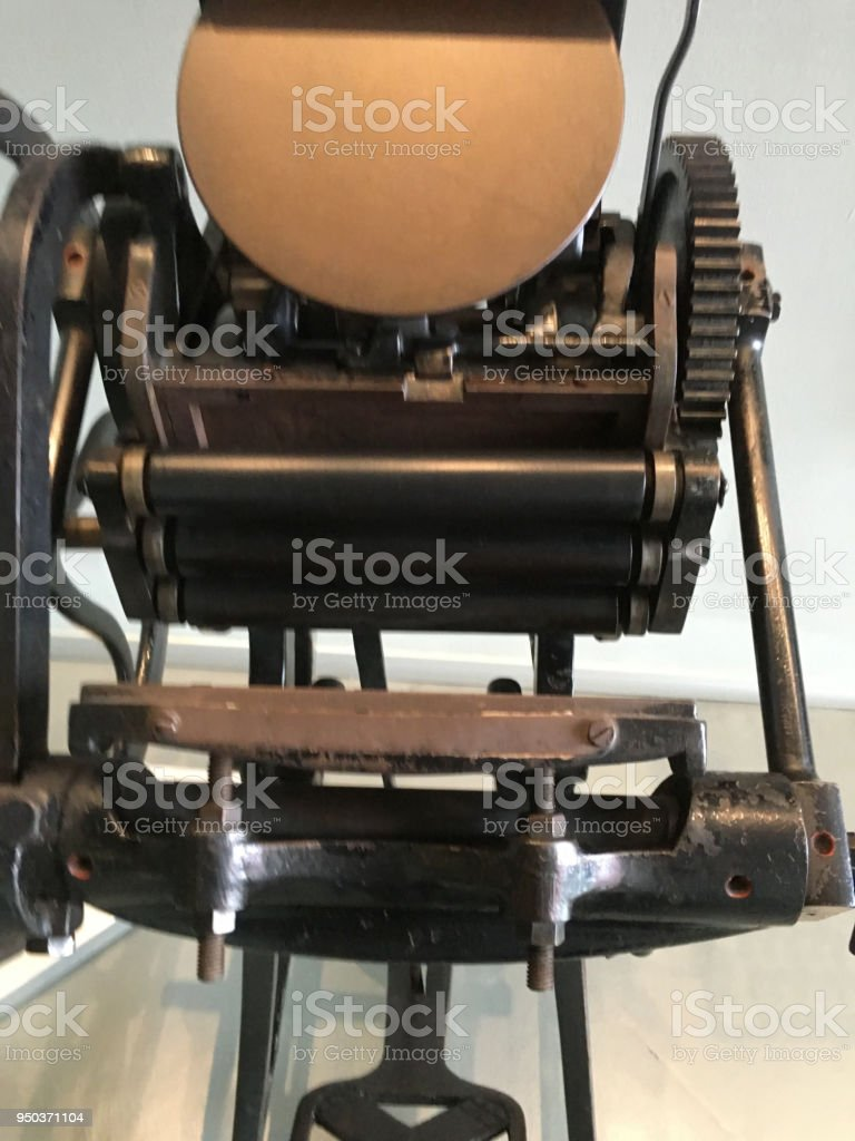 Old Printing Press Background Unit Isolate Stock Photo