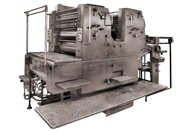 古い印刷機ホワイト ロータリー機で絶縁された印刷装置、クリッピング パスを含める ストックフォト