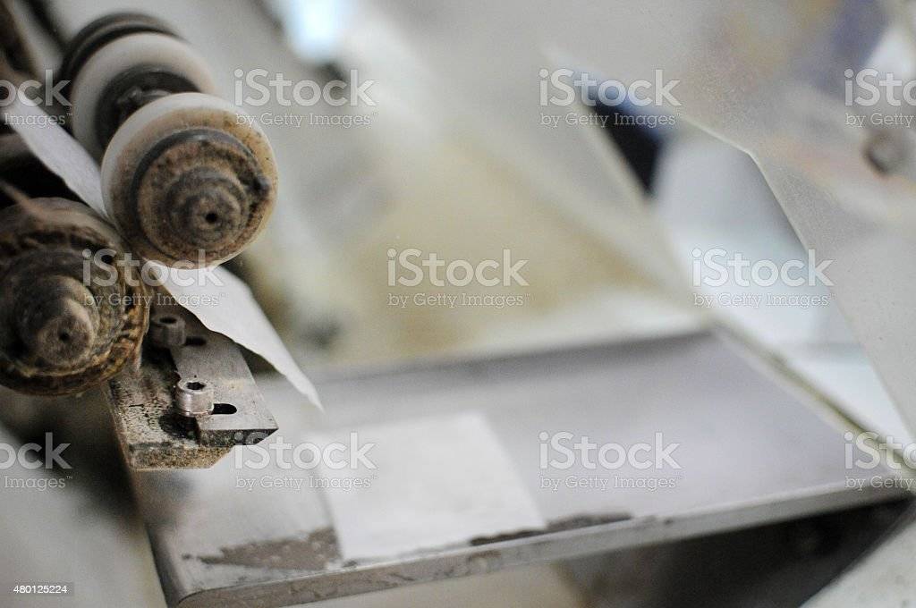 Old printing press, mechanical gears stock photo