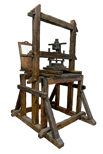 Old printing press. Clipping path included