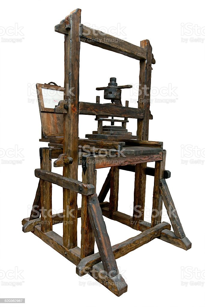 Old printing press stock photo