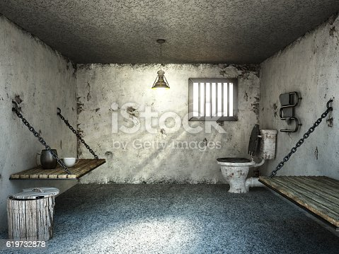 Inside of an old and dirty prison cell with wooden beds and a small barred window. Generic 3D design.