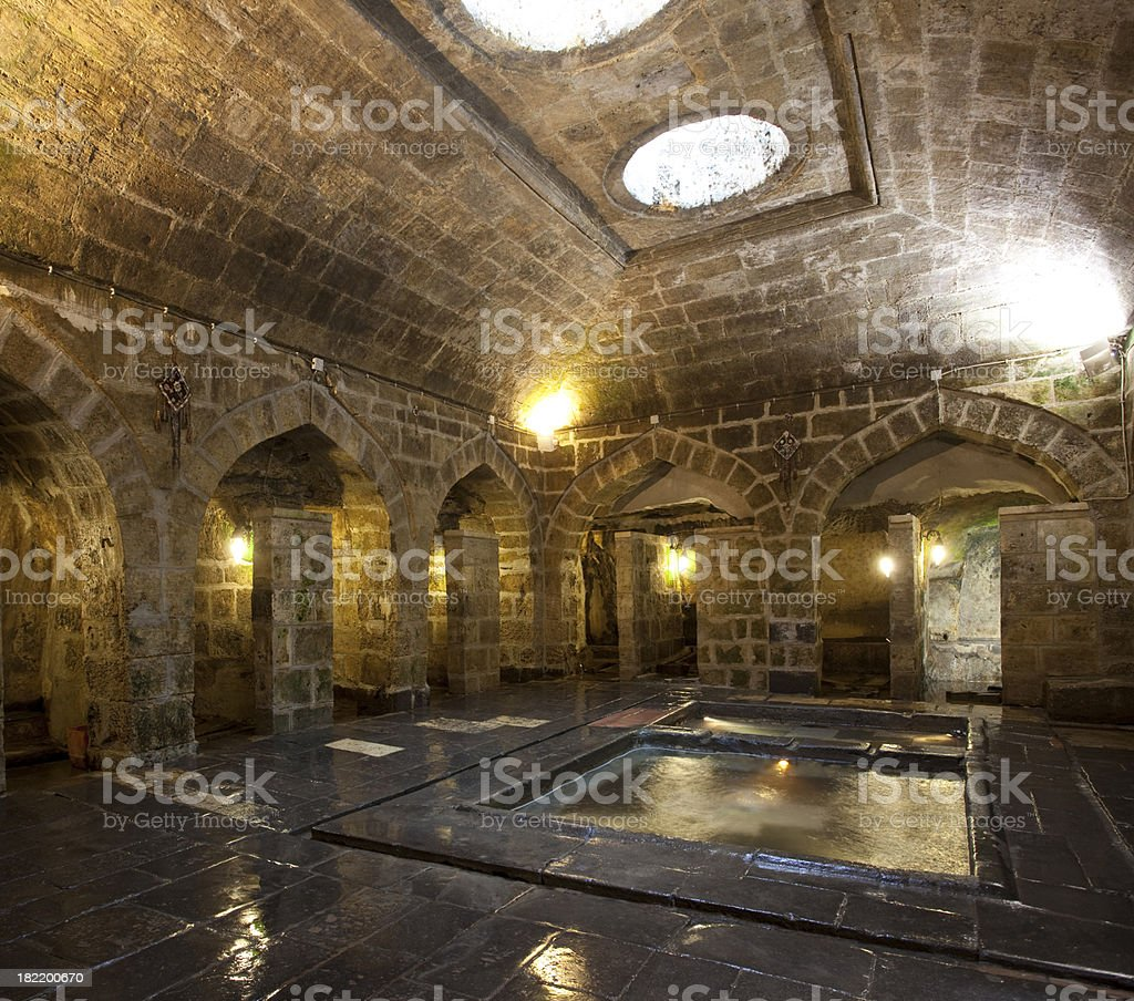 Old prison in ancient castle stock photo