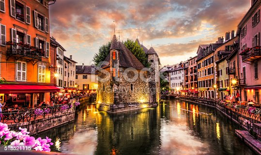 A 12th century prison sits in the middle of the canal on the Thiou River in Annecy, France.