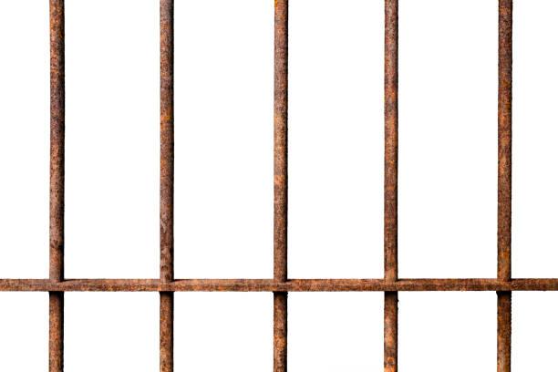 Alten Gefängnis verrostet Metallstangen Zelle sperren isoliert auf weißem Zeitmessung – Foto