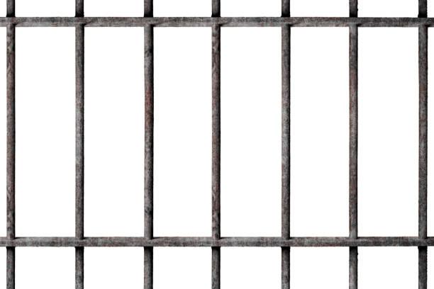 Altes Gefängnis verrostet Metallstangen Zelle Schloss isoliert auf weißem Hintergrund – Foto