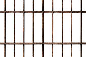 Old prison rusted metal bars cell lock isolated on white