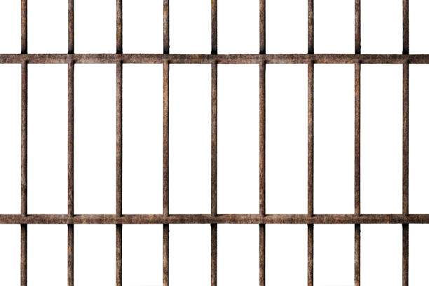 old prison rusted metal bars cell lock isolated on white - prisão imagens e fotografias de stock