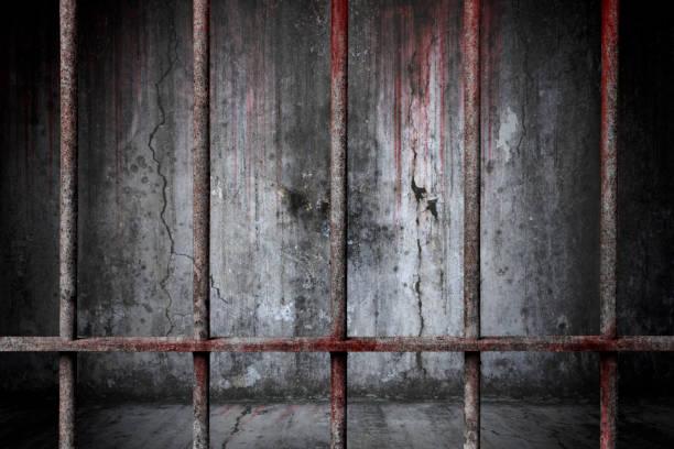 Alten Gefängnis verrostet Metallstangen Zelle Schloss mit Blutfleck und blutigen Hintergrund unheimlich alte wal – Foto