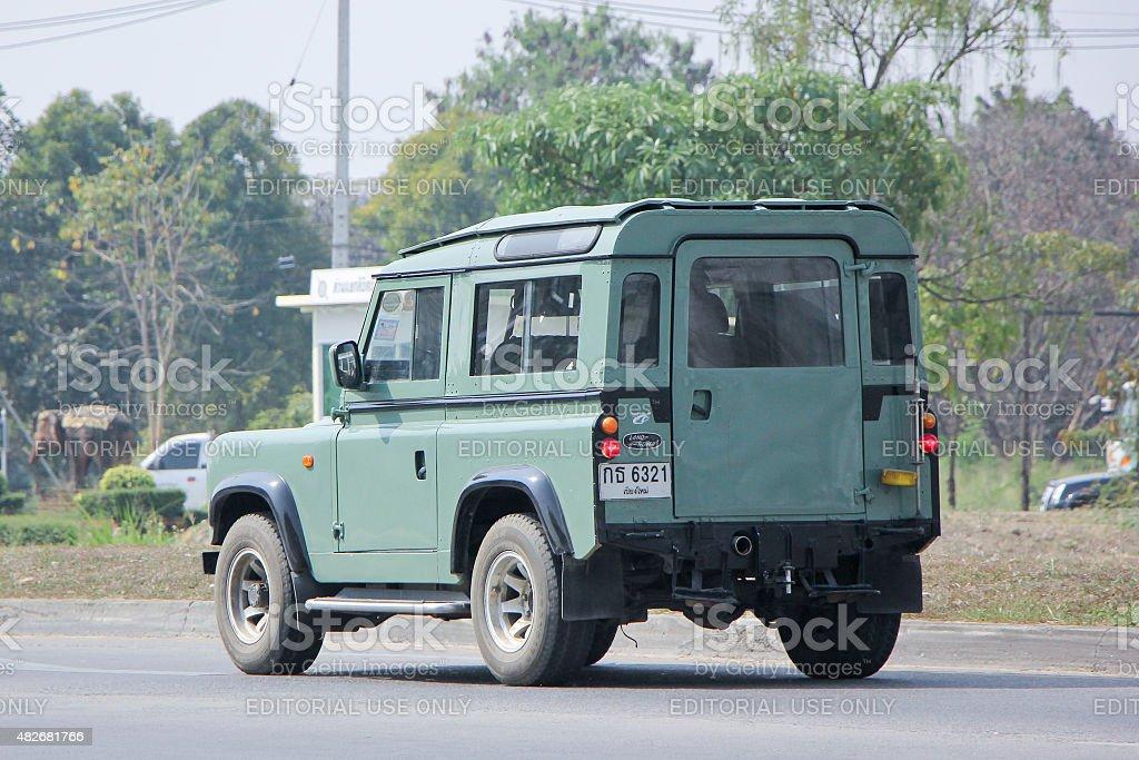 Old Private car. Land Rover mini Truck. stock photo