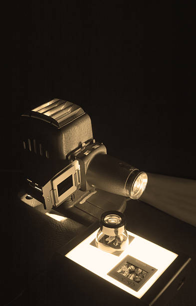 Old Projector & Slides stock photo