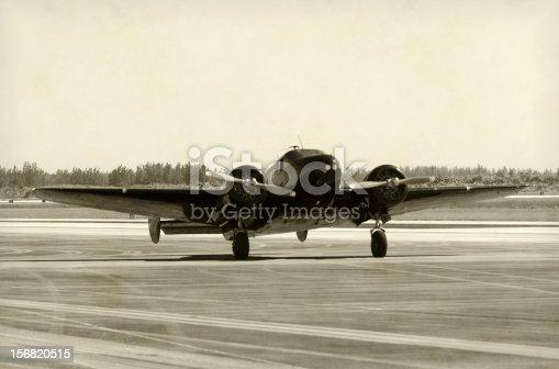 World War II era propelelr airplane front view