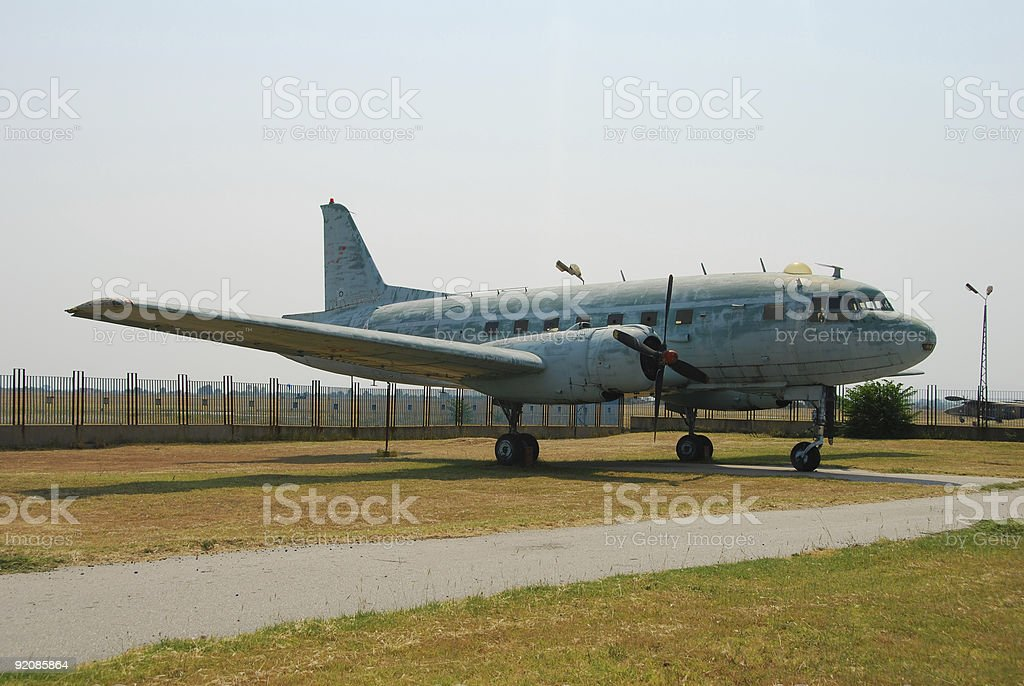 Old propeller airplane royalty-free stock photo