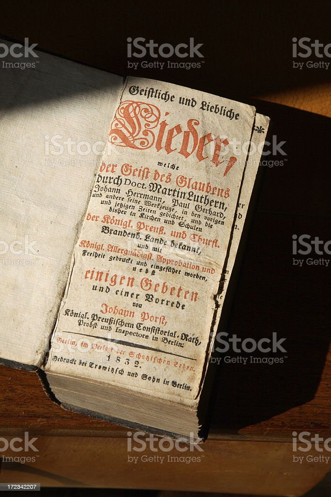 old prussian church service book (altes preussisches Kirchengesangbuch) stock photo